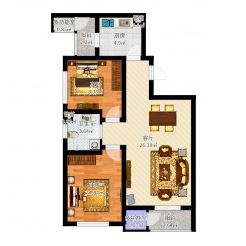 格调艺术领地2室1厅1卫1厨79.00㎡户型图