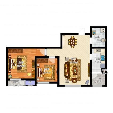 格调艺术领地2室1厅1卫1厨83.00㎡户型图