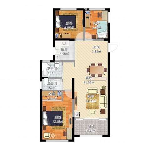 雅戈尔新东城3室1厅3卫1厨96.00㎡户型图