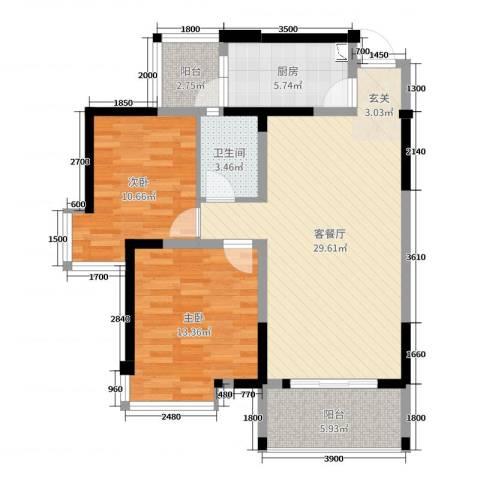 凯丽景湖三期2室2厅1卫1厨100.00㎡户型图