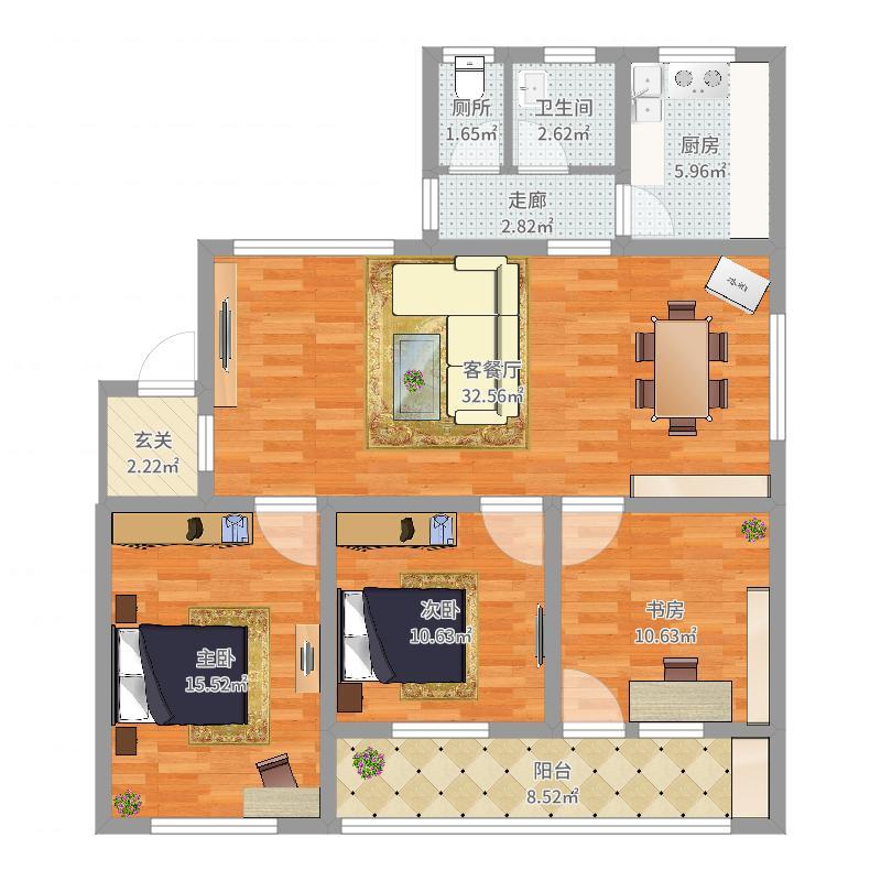 麻豪口小学住宅楼一栋201平面图