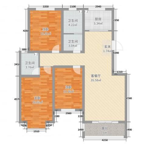 金城私邸3室2厅3卫1厨126.00㎡户型图