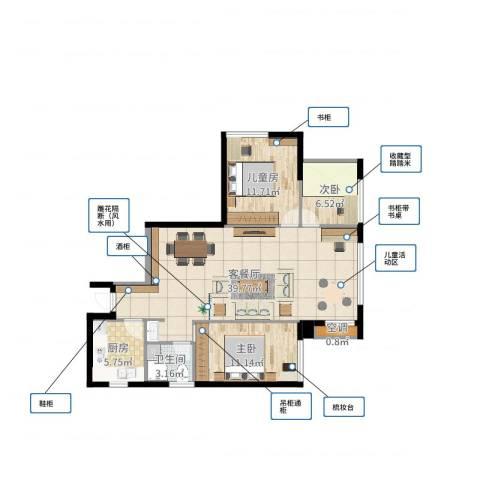 万向西界莎拉3室2厅1卫1厨99.00㎡户型图