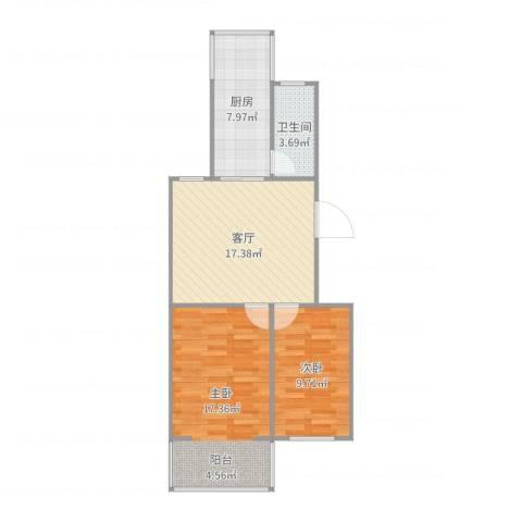 港宁园小区2室1厅1卫1厨70.00㎡户型图
