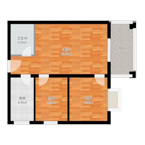 聚福园2室1厅1卫1厨79.00㎡户型图