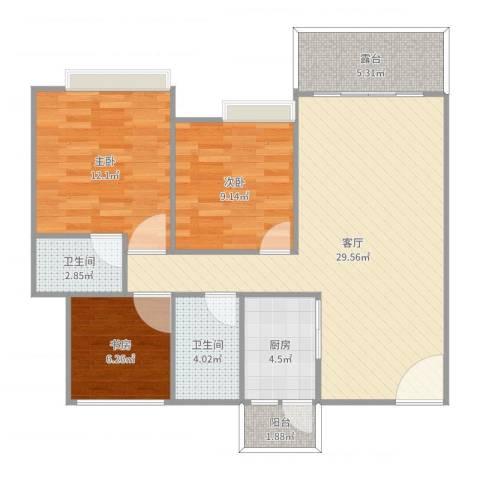 白兰花园3室1厅2卫1厨95.00㎡户型图