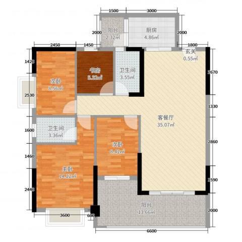 永盛翰林苑4室2厅2卫1厨115.00㎡户型图