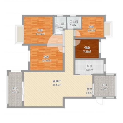 金域华府4室2厅2卫1厨107.19㎡户型图