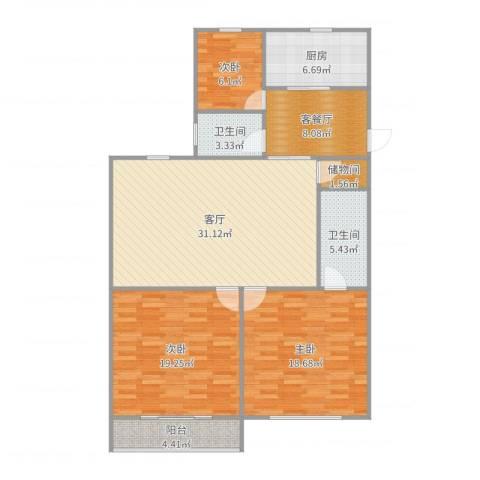 育秀九区3室3厅2卫1厨131.00㎡户型图