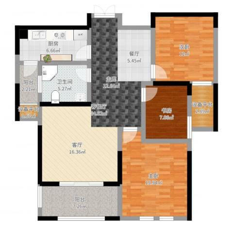 友邦皇家公馆3室2厅1卫1厨118.00㎡户型图