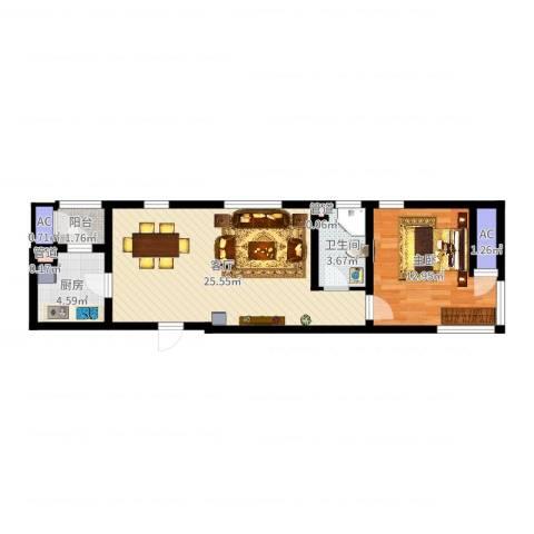 格调艺术领地1室1厅1卫1厨63.00㎡户型图
