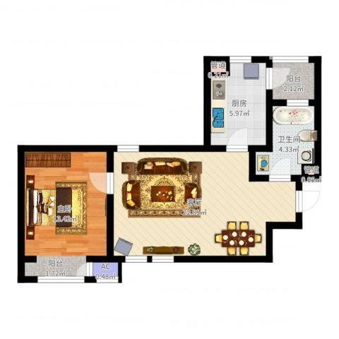 格调艺术领地1室1厅1卫1厨62.00㎡户型图