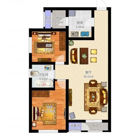 格调艺术领地2室1厅1卫1厨81.00㎡户型图