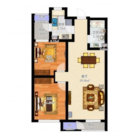 格调艺术领地2室1厅1卫1厨82.00㎡户型图
