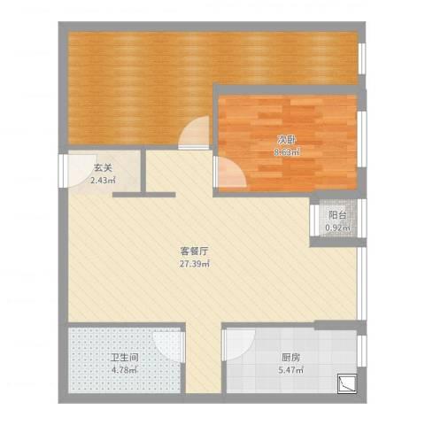 东亚五环国际1室2厅1卫1厨78.00㎡户型图