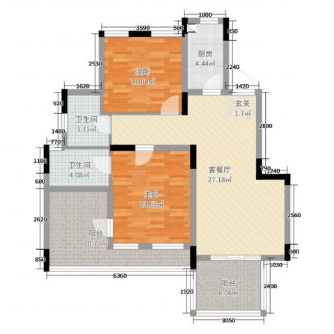 骋望七里楠花园2室2厅2卫1厨101.00㎡户型图