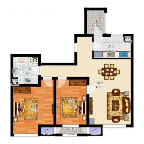 格调艺术领地2室1厅1卫1厨94.00㎡户型图