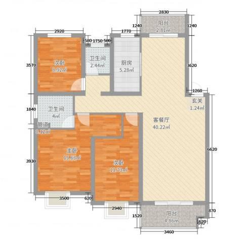 伟星玲珑湾3室2厅2卫1厨120.00㎡户型图