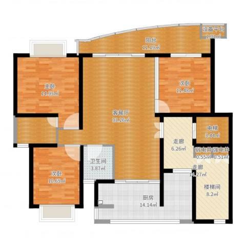 香榭水岸四期公寓3室2厅1卫1厨154.00㎡户型图