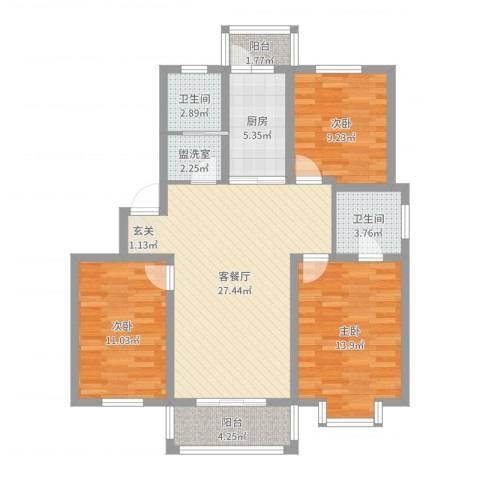 东城水岸3室2厅2卫1厨102.00㎡户型图