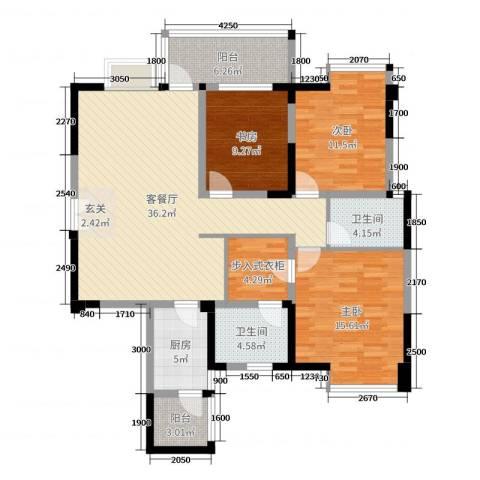 凯丽景湖三期3室2厅2卫1厨134.00㎡户型图