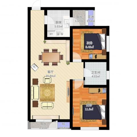 格调艺术领地2室1厅1卫1厨80.00㎡户型图