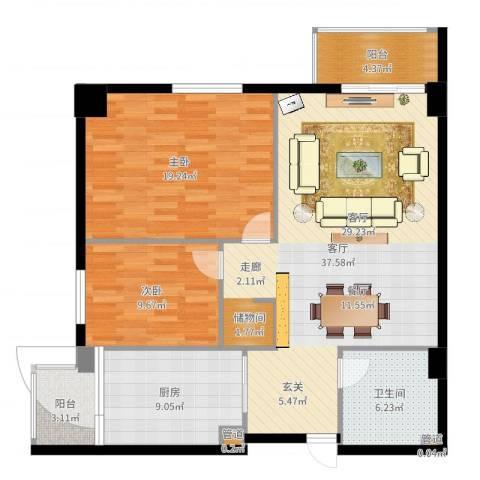 月光村2室1厅1卫1厨112.00㎡户型图