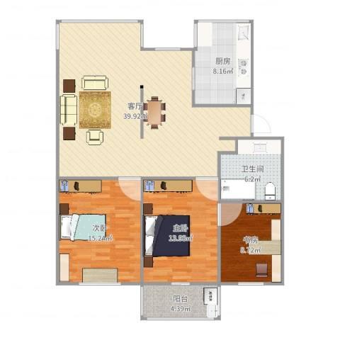 胭脂新村3室1厅1卫1厨121.00㎡户型图