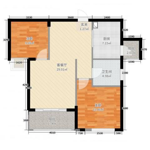 祥隆理想城2室2厅1卫1厨90.00㎡户型图