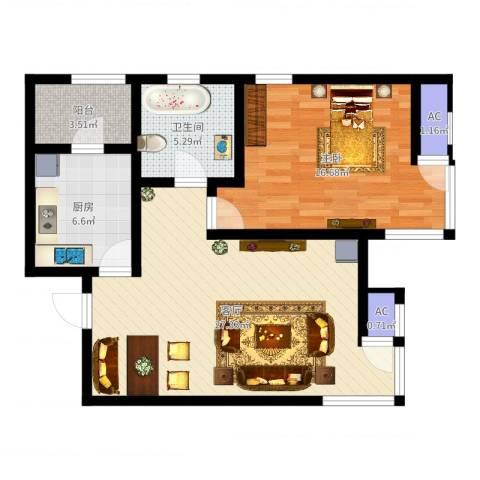 格调艺术领地1室1厅1卫1厨77.00㎡户型图