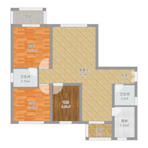 银河小区3室2厅2卫1厨108.00㎡户型图