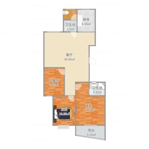 人才公寓3室1厅2卫1厨118.00㎡户型图