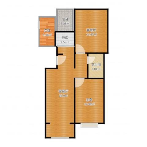 五棵松26号院2室4厅1卫1厨85.00㎡户型图
