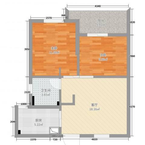 文星花园2室1厅1卫1厨67.00㎡户型图