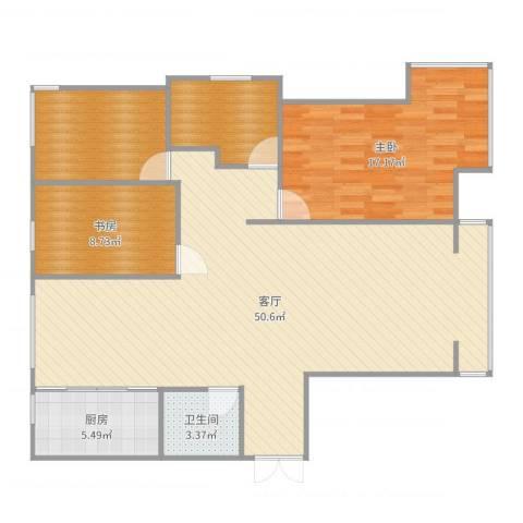 东湖湾C2-东单元-西户2室1厅1卫1厨124.00㎡户型图