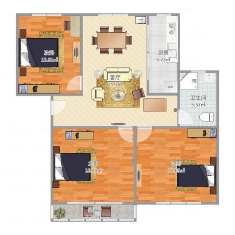 解放新村3室1厅1卫1厨109.00㎡户型图