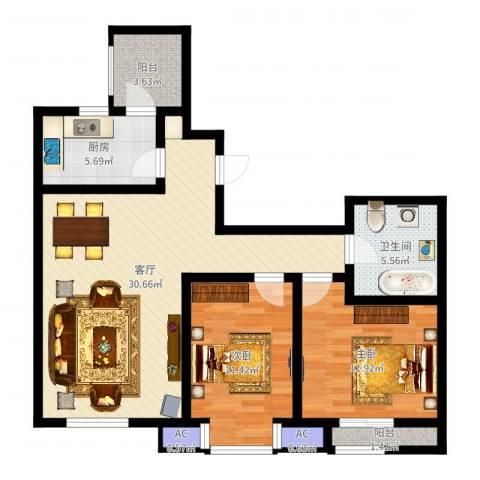 格调艺术领地2室1厅1卫1厨89.00㎡户型图