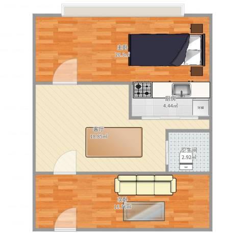 联富假日公寓2室1厅1卫1厨79.00㎡户型图