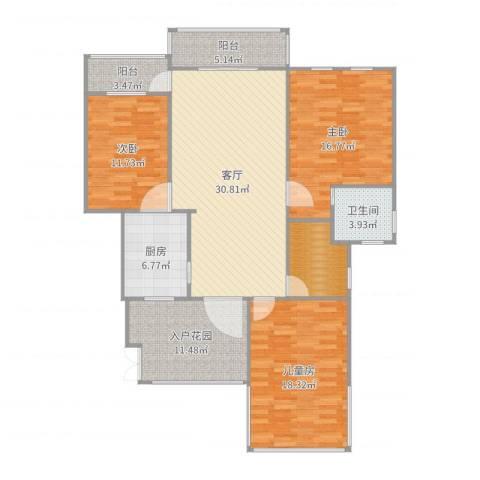 紫悦府4-5043室1厅2卫1厨142.00㎡户型图