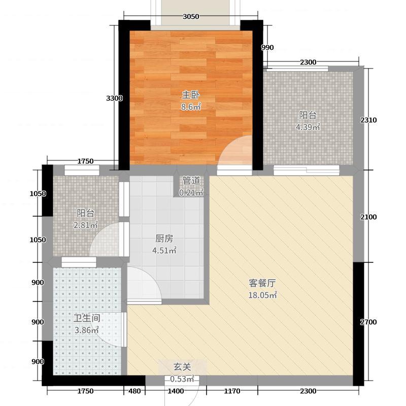 恒大城55.18㎡D16地块2号楼03户型1室1厅1卫1厨