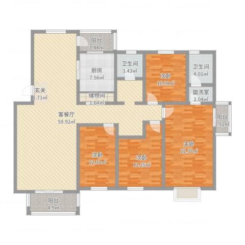 丽华小区4室2厅2卫1厨185.00㎡户型图
