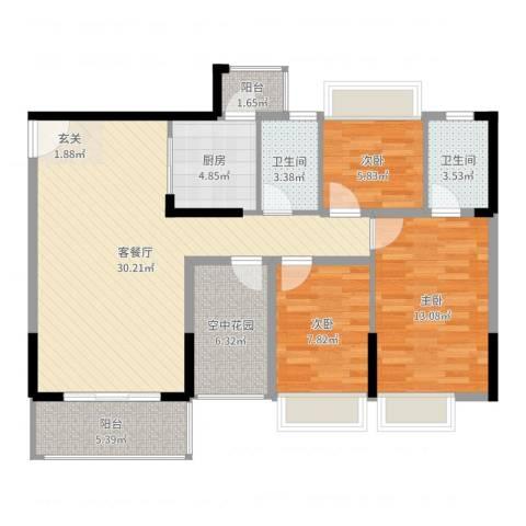 江南御都3室2厅2卫1厨103.00㎡户型图