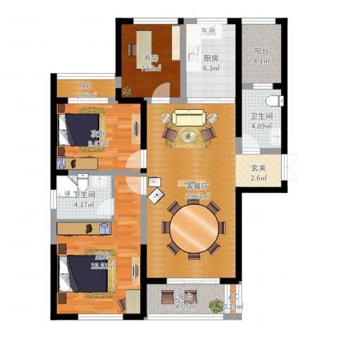长高圆梦佳苑3室2厅2卫1厨109.00㎡户型图