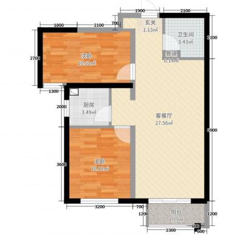 天洋翠堤湾2室2厅1卫1厨88.00㎡户型图