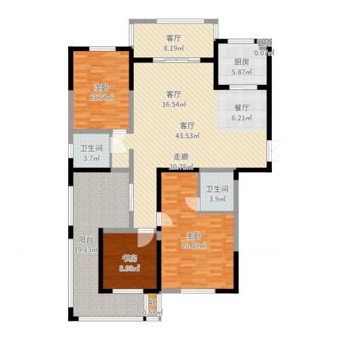 长高圆梦佳苑3室2厅2卫1厨160.00㎡户型图