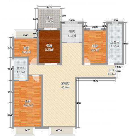 林凯城4室2厅2卫1厨139.00㎡户型图