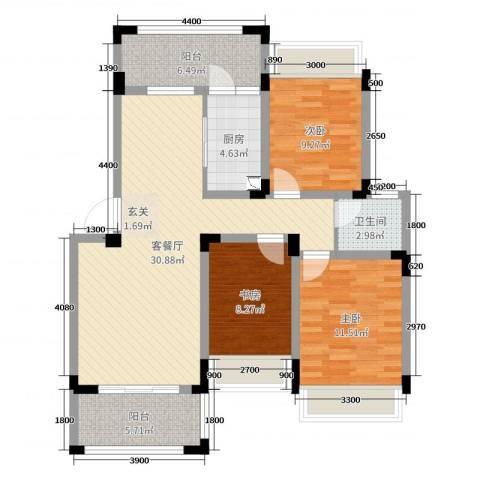 信德半岛3室2厅1卫1厨93.00㎡户型图