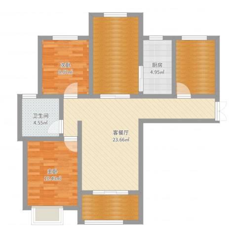 首钢首御2室2厅1卫1厨93.00㎡户型图