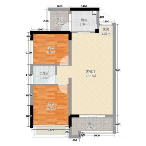 信德半岛2室2厅1卫1厨89.00㎡户型图