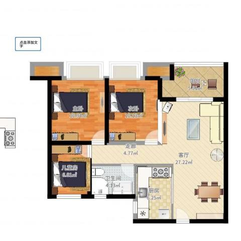 农房澜山3室1厅2卫2厨90.00㎡户型图